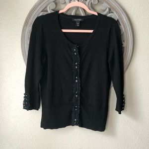 🍬 WHBM Black ruffled cardigan size medium